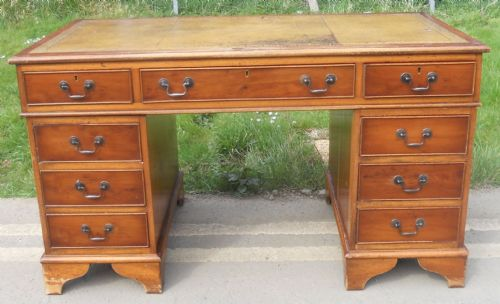 Yew Twin Pedestal Writing Desk